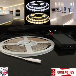 5M Warm White 5050 High Brightness LED Strip Under Kitchen Lights + Power Supply