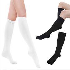 Señoras mujeres llanura sobre la rodilla negro calcetines blancos 5x