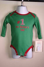 Carter'S 6 Mo Infant Unisex Bodysuit Nwt Green Christmas 100% Cotton