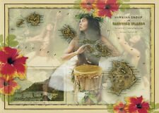 4 Greeting Cards Hawaiian Blank Lani Pana by Carolyn Quan