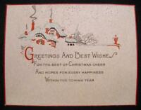 Greetings And Best Wishes For The Best Of Christmas Cheer Vintage Holiday Card O