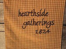 "Mustard Check Tea Towel ""hearthside gatherings 1824"" Heavy Woven 100 %Cotton"