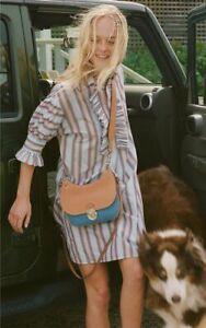 Tory Burch ShirtDress XS Ruffle Trim Striped Cotton Dress 0 2  Resort '19