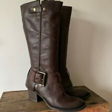 KENNETH COLE UK SIZE 6 39 WOMENS WANNA RIDE BROWN LEATHER LONG BOOTS