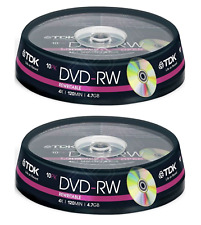 20 x TDK DVD-RW Rewritable Disk DVD Video/Data 4X Speed - 2 x 10 Spindle Pack