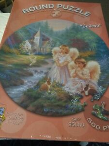 """Believe"" Round  Master Pieces Puzzle 500 Pieces Dona Geisinger"
