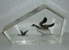 """Canada Goose Honkers Lucite Paperweight Vtg Geese Acrylic LARGE 11""""x7""""x2.5"""""""