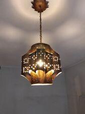 Old Vintage hand carved Brass living room Lamp Lighting Sconce chandelier 1940´s