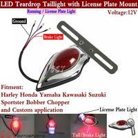 Vintage 12V LED Teardrop Tail Brake Light w/Bracket For Bobber Chopper Custom