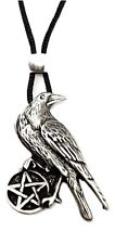 Crow Raven Pentacle Pendant Beaded Cord Necklace Pagan Wiccan Pewter Jewellery