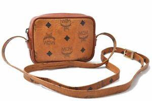 Authentic MCM Cognac Visetos Leather Vintage Shoulder Bag Pouch Brown D9951