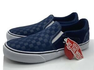 Vans Classic Slip On Blue Checkerboard Asher Deluxe Comfort Shoe Mens Size 12