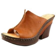 Born Brown Leather Birch Peep-toe Slide Retro Wedge Mule Sandals 9 40.5