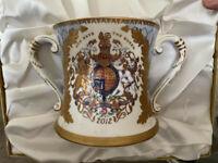 Queen Elizabeth II Diamond Jubilee Double Handle Mug MIB 2012 Limited Edition