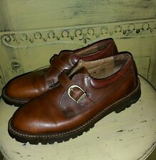 GH BASS & CO BROWN LEATHER MONK STRAP OXFORD SHOES 7.5 M BUCKLE BROGUES BOHO