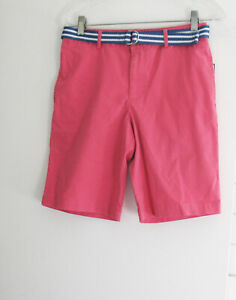 Polo Ralph Lauren Boys Twill Shorts & Stripe Belt Red Coral Sz 16 - NWT