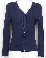 Cable Gauge Cardigan Sweater Size PM PS Blue Silk 3 4 Slv V Neck Women