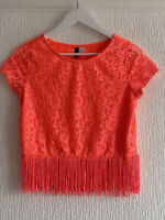ORANGE LACE TASSEL TOP CROP EU S GLAM SUMMER BOHO TOWIE CELEB PRETTY PARTY CHIC