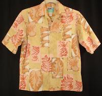 Reyn Spooner Reverse Print Hawaiian Aloha Camp Shirt Pineapple Tropical Size M