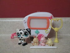 LPS Littlest Pet Shop #1613 Dalmatian Dog Lot Ambulance Swirls 3 Bunnies Set