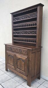 Antique French Farmhouse Oak Dresser With Plate Rack Back
