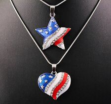 Rhinestone Stars and Stripes Pendant Necklace Set w/Free Jewelry Boxes/Shipping