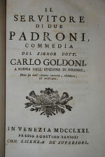 Goldoni – 10 commedie italiana in 1 Mezza Pelle Nastro – Venezia 1770-1771