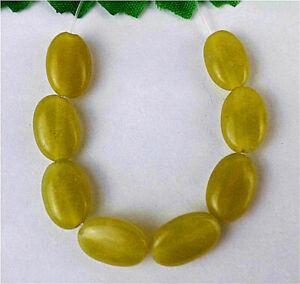 8Pcs 12x8x4mm Natural Yellow Lemon Jade Oval Height Holes Bead AP18337