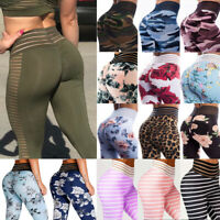 Women Yoga Pants Mesh High Waist Scrunch Leggings Ruched Running Sports Trousers