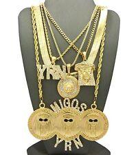 MIGOSYRN,MEDUSA,JESUS,ANKH,ANGEL,RUBY,HERRINGBONE CHAIN 5 Necklace Set RC1519G