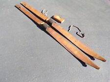 """Antique 81"""" hand hewn made wood snow skis leather binding cabin chalet decor vtg"""