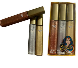 New 3 pc Lip Gloss Gold,Silver ,Rose Gold Collection Wonder Woman Gift Set