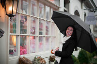 The Doorman Umbrella, Curved Wooden Handle - Classic Black by Elite Rain