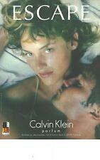 PUBLICITE ADVERTISING 1995  CALVIN KLEIN parfum pour femme ESCAPE