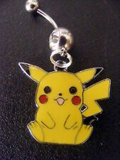 Pikachu Pokemon Yellow Belly Ring Navel Ring 14G Surgical Steel Dangle