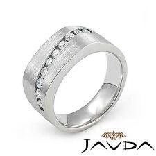 Men Half Wedding 10.7mm Band Channel Set Round Diamond Ring 18k White Gold 0.6Ct