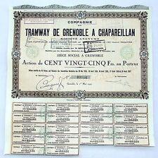 Dépt 38 - Grenoble - Cie du Tramway de Grenoble à Chapareillan du 01/05/1927