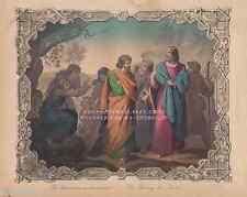 Blind Man On The Wayside-Jesus Christ-1850 OLD ANTIQUE VINTAGE ART PRINT-Picture