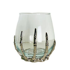 Halloween Skeleton Hand Stemless Single Wine Glass with Silver Zinc Alloy