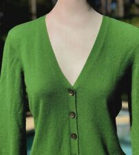 Women's Vince Green Cashmere Button Down Cardigan Sweater Top Size M
