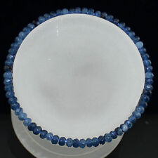 2x4mm Faceted Blue Apatite Roundlle Gemstone Beads Bracelets 7.5""