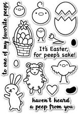 Poppy Stamps clear acrylic stamps & matching dies- TO ALL MY PEEPS, Easter