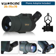 25-75x70 Zoom Angled Spotting Scope Cell Phone Adapter Waterproof Birdwatching
