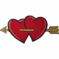 Cupid Arrow Patch Gold Red Love Hearts Iron On Sew On Embroidered Badge Applique
