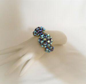 Vintage Rhinestone Clamper Bracelet Blue Aurora Borealis Statement Jewelry