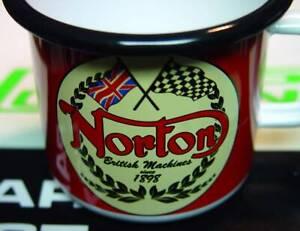 Norton Logo, 1898 Motorcycle, Steel & Enamel Coffee, Tea, Expresso Cup