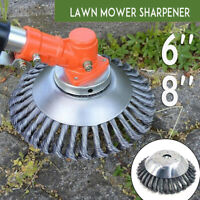 "6"" 8"" Steel Wire Wheel Garden Trimmer Weed Brush Lawn Mower Head Cutter Tools <"