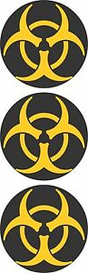 3 Biohazard Yellow & Black Circle Motorcycle Helmet Hard Hat Sticker HS-424
