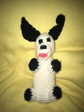 Handmade Vintage Crochet Black-And-White Dog
