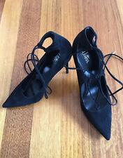 Wittner Reema Designer Leather Black Lace Up Gothic Vintage Heel Shoes Siz 41 10